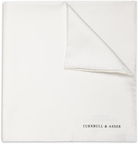 White Silk Turnbull & Asser Pocket Square. £55 from Mr Porter.